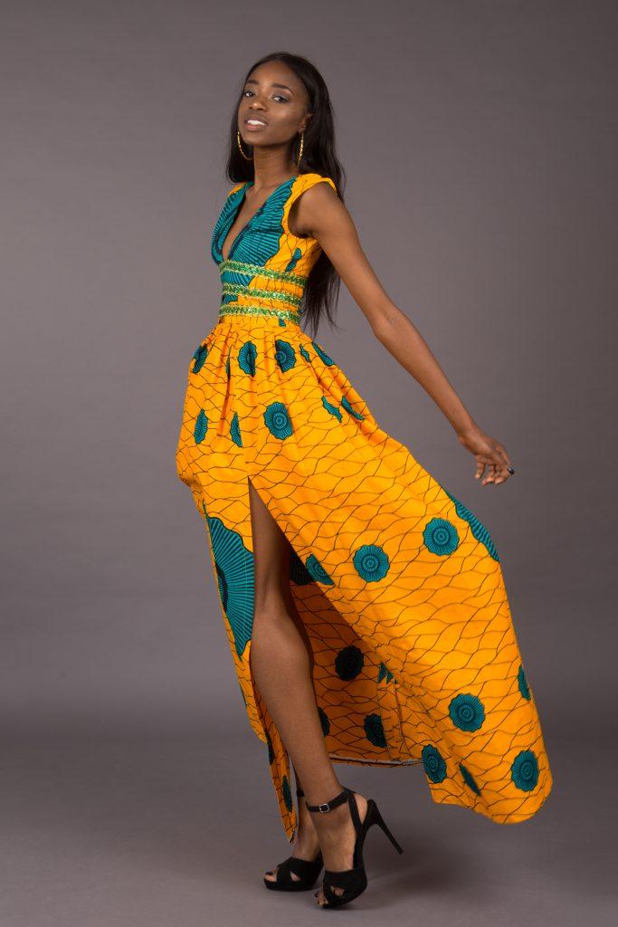Yellow dress on black model look-book photogrpahy
